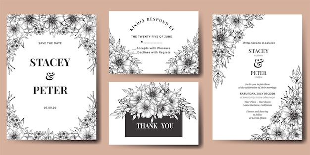 Wedding invitation flower gerbera hand drawn