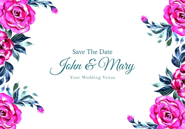 결혼식 초대 꽃 프레임 카드