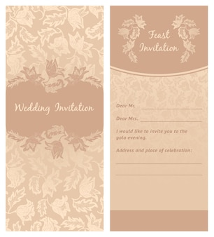 結婚式の招待状、花飾り、背景