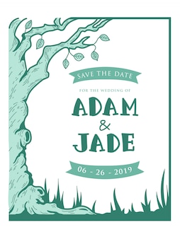 Wedding invitation forest theme