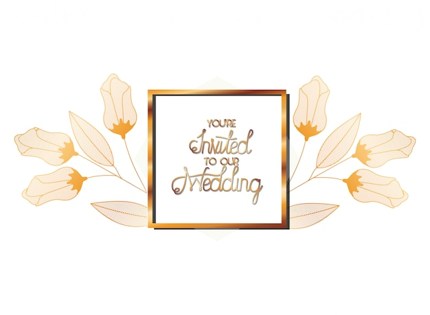 Wedding invitation in frame golden with flowers