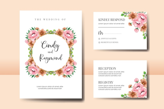 Набор свадебных приглашений, цветочные акварели рисованной пион цветочный шаблон приглашения