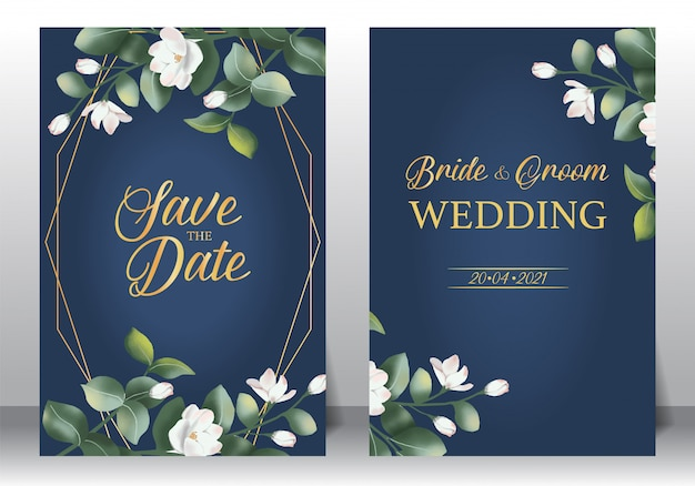 Wedding invitation frame set; flowers, leaves, watercolor, isolated on white.