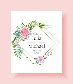 Wedding invitation frame set flowers