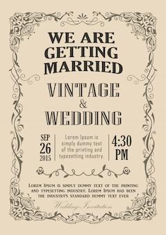 Wedding invitation frame vintage border vector illustration