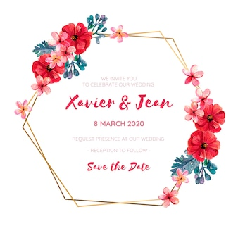 Wedding invitation frame with red watercolor flowers