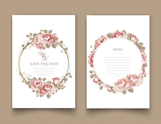 Wedding invitation frame with roses.