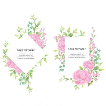 Wedding invitation frame with watercolor rose and leaf style decorations