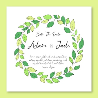 Wedding invitation framed with leaves