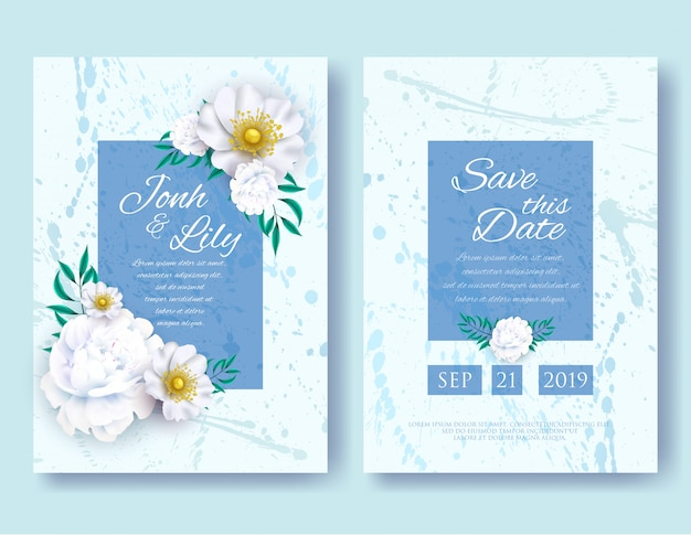Wedding invitation frames templates set. white peony and anemone flowers with leaves on background with random blobs, floral and herbs garland with green leafage, nature art. vector illustration.