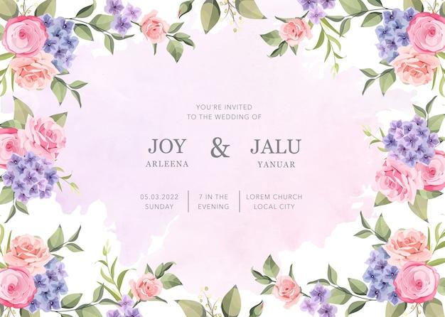 結婚式の招待状の新鮮な花の花