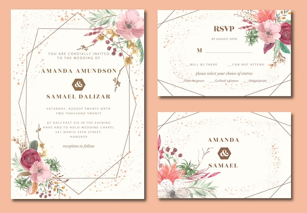 Wedding invitation geometric with vintage floral watercolor