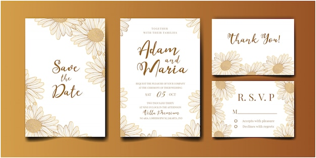Wedding invitation golden set with beauty floral tulip flower abstract doodle hand drawn style ornament decoration