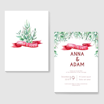 Wedding invitation greenery with ribbon watercolor