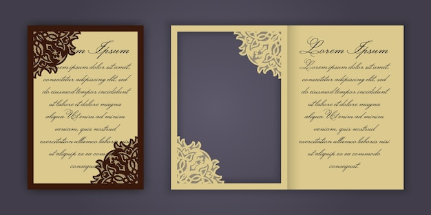 Wedding invitation or greeting card with vintage lace ornament.