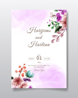 Wedding invitation greeting card with watercolor flower or leaves design