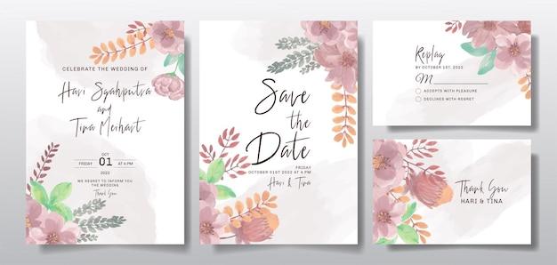 수채화 꽃 또는 잎 결혼식 초대 인사말 카드