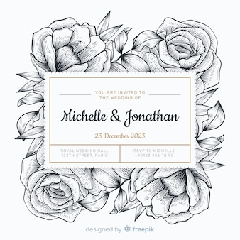 Wedding invitation hand drawn style