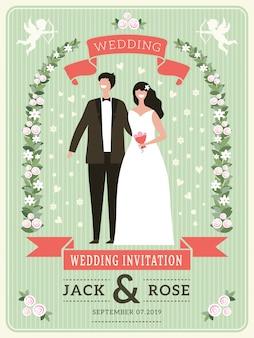 Wedding invitation. happy groom couple happy lovers wed day cute bride placard