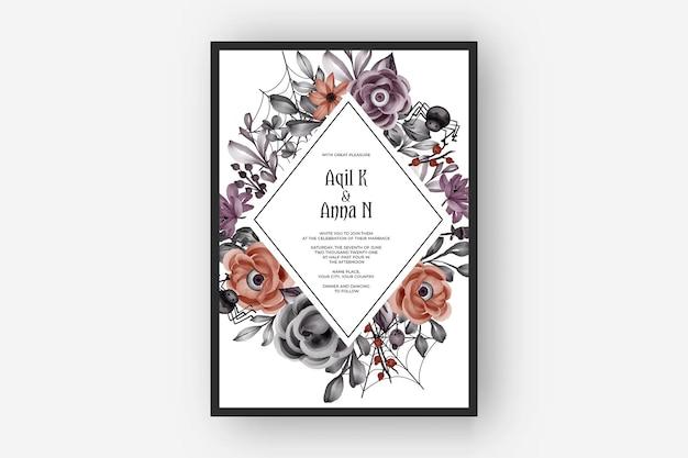 무서운 꽃 눈을 가진 결혼식 초대 해피 할로윈 프레임