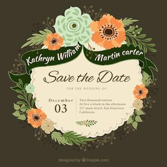 Wedding invitation in flat design