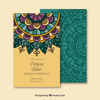 Wedding invitation in mandala style