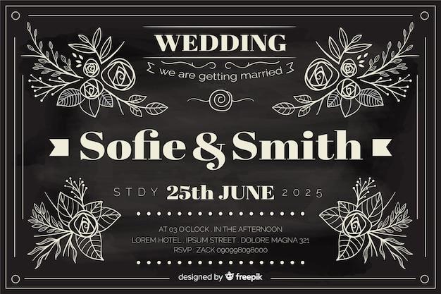 黒板に書かれたビンテージスタイルの結婚式の招待状