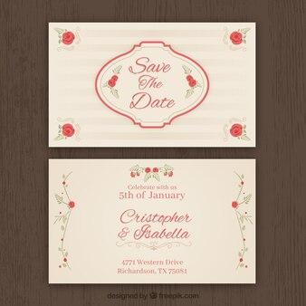 ヴィンテージスタイルの結婚式招待状