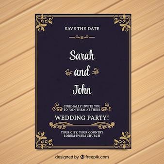 Elegant invitation vectors photos and psd files free download wedding invitation in vintage style stopboris Images