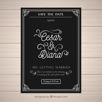 Wedding invitation in vintage style