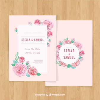 Wedding invitation in watercolor style