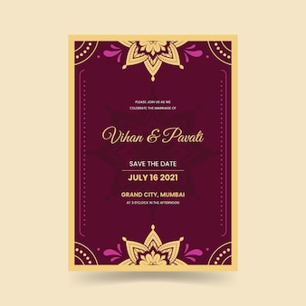 Wedding invitation for indian couple