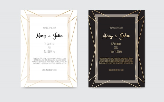 Wedding invitation, invite card with geometrical art lines, gold foil border, frame.
