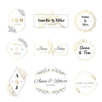 Wedding invitation labels. minimalist floral leaves frames, elegant golden marriage card and save the date gold label set