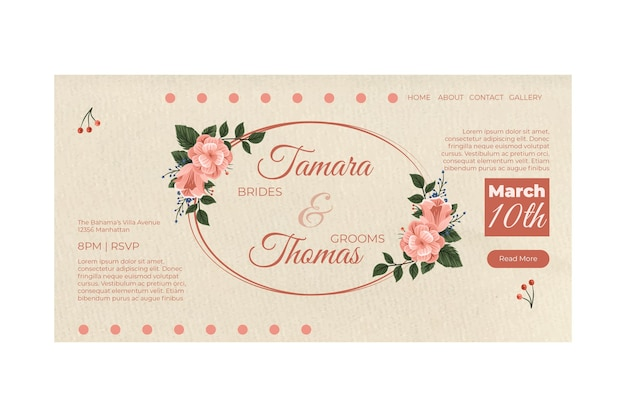 Wedding invitation landing page