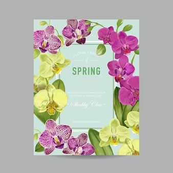 Wedding invitation layout template with orchid flowers. s