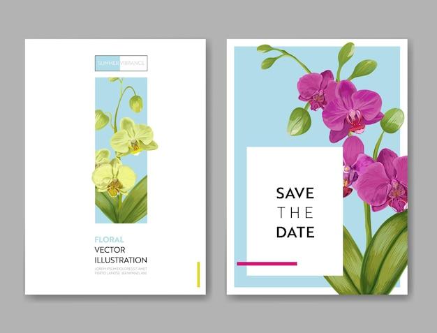 蘭の花と結婚式の招待状のレイアウトテンプレート。パーティーのお祝いのためにエキゾチックな花で日付花カードを保存します。ベクトルイラスト