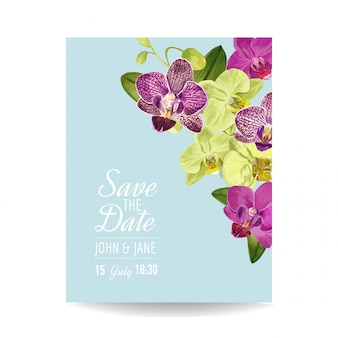Wedding invitation layout template with orchid flowers.