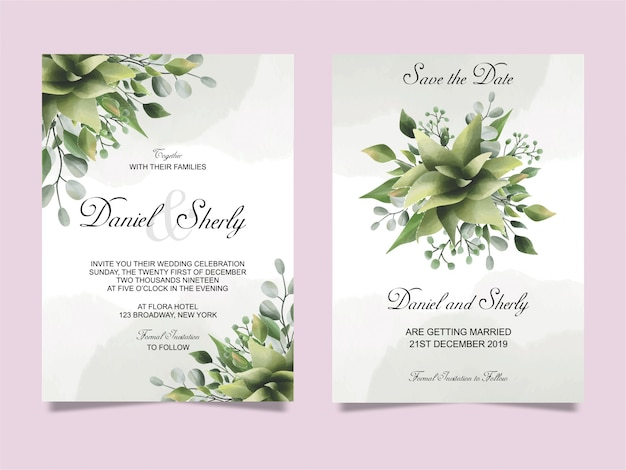 Wedding invitation leaf green watercolor style