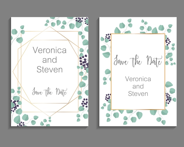 Wedding invitation, leaves invite card template. design with eucalyptus branches and viburnum tinus