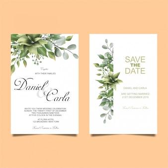結婚式の招待状の葉水彩風 Premiumベクター