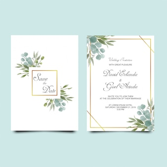 Wedding invitation leaves watercolor style