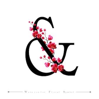 結婚式招待状&水彩花の背景
