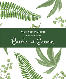 Wedding invitation. lettering in green frame on greenery pattern. party, event, celebration