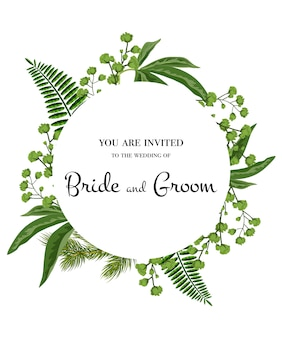 Wedding invitation. Lettering in circle with greenery on white background.