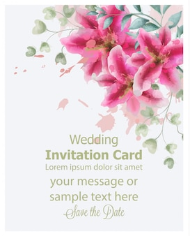Wedding invitation lily flowers watercolor