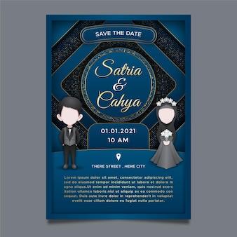 結婚式の招待状キャラクターと豪華な青い背景のテーマ