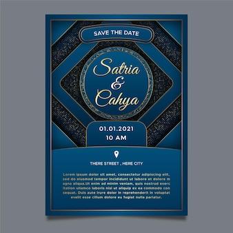 結婚式の招待状ラグジュアリーブルーの背景テーマ