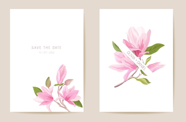 Wedding invitation magnolia spring flowers, leaves. floral card, tropic watercolor template vector. botanical save the date golden foliage modern poster, trendy design, luxury background