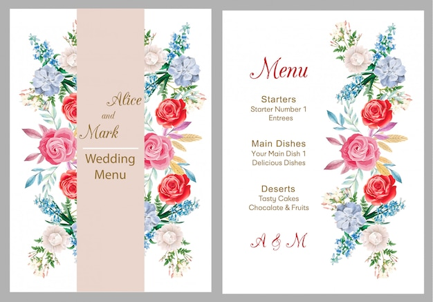 Wedding invitation, menu card, wedding
